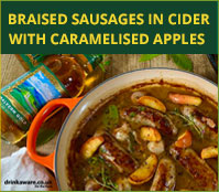 Braised Sausages in Cider with Caramalised Apples